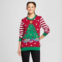 Women's Lightup Tree Sweater - Ugly Christmas Sweater Red