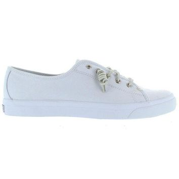 Sperry Top Sider Seacoast Core   White Slip On Canvas Vulcanized Oxford