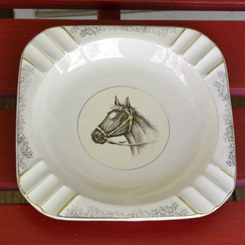 Vintage Excello Four Star Ceramic Ashtray with Horse Made in Japan