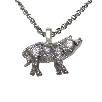 Silver Toned Round Textured Boar Hog Pig Pendant Necklace