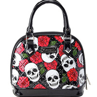 Loungefly Skull And Roses Patent Mini Dome Bag