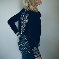 Free People Womens Embroidered Velvet Cropped Jacket
