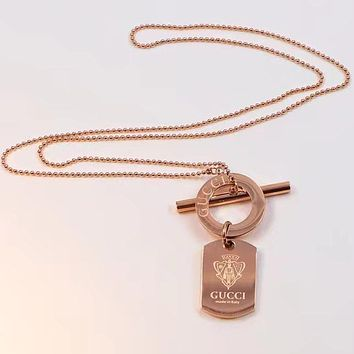 GUCCI Popular Women Men Personality Rose Golden Pendant Necklace Simple Collarbone Chain Accessories Jewelry I-HLYS-SP