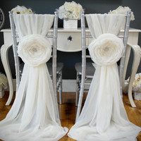 Aurora ~ Large Handmade Fabric Flower - Wedding / Parties - Chair Cover Accessories