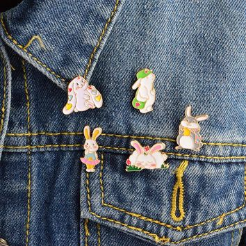 Trendy 5pcs/set Cartoon Rabbit Brooch Bag Sleeping Lop-eared Bunny Pins Buckle Denim jacket Shirt Collar Lapel Pin Badge Jewelry Gift AT_94_13
