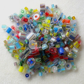 Furnace Cane Glass, Cane Glass Beads,  Loose Lot, Craft Supplies, Jewelry Supplies, Bead Supplies, Jewelry Making Beads, Bead Mix, Bead Soup