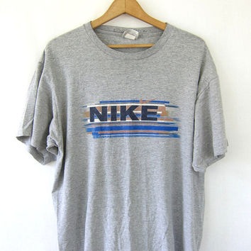20% Off SALE Vintage NIKE tshirt thin gray tee shirt Grunge Punk coed unisex Faded Worn In shirt Mens Womens Sports Sporty medium