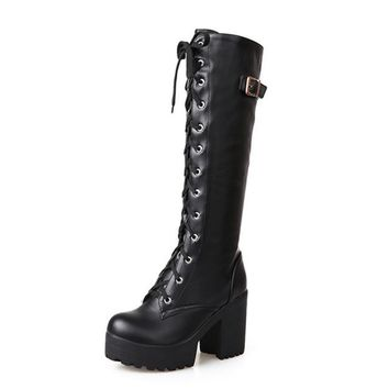 Thick platform knee high lace-up combat gothic biker boots
