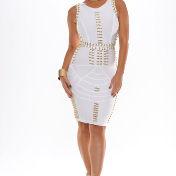 Kim K studded bandage mini dress (white)