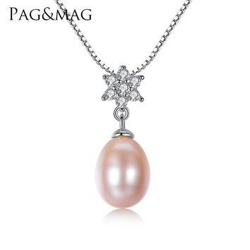 PAG&MAG Brand 8-9mm Tear Drop Genuine Pearl Necklace Vintage 925 Silver White and Pink Purple Freshwater Pearl Wedding Pendant
