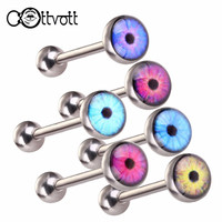 6pcs/lot Punk Eye Logo Tongue Ring Barbell Ball Stud Bars Hypoallergenic Surgical Steel Tongue Body Piercing 14G Jewelry SD013
