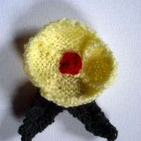 Yellow poppy flower corsage brooch. OOAK!