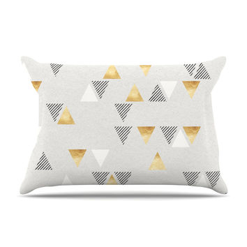 "Nick Atkinson ""Triangle Love"" Gray Gold Pillow Case"