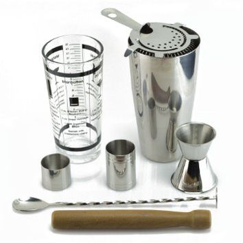 TeiKis® Boston Cocktail Shaker Ultimate Gift Set including 30oz Boston Cocktail Shaker& Martini Shaker Set + Prong Hawthorn Strainer + 25&50ml Measure + Bar Spoon with Masher + Wooden Muddler + 30/50ml Jigger. Stainless Steel Quality.
