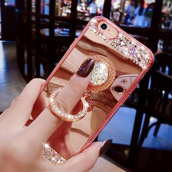 For iphone 5 5s SE 6 6s 7 Plus Case Luxury Plating Diamond Mirror Soft TPU Cover Crystal finger Ring Phone Cases W/ Stand Holder