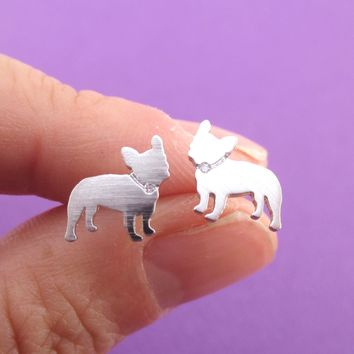 French Bulldog Silhouette with Rhinestone Collar Shaped Stud Earrings in Silver