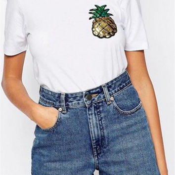 Pineapple Embroidered Sequined Wild Round Neck T-Shirt