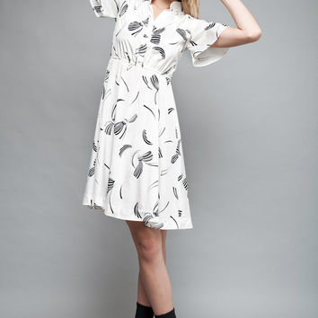 """vintage 80s Pierre Balmain dress white black bow print butterfly sleeves S (35"""" bust)"""