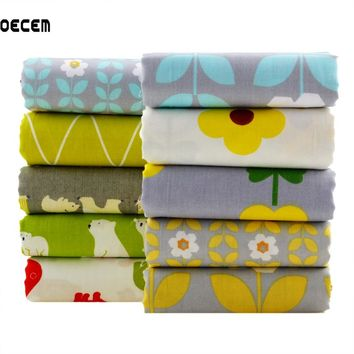 Twill Cotton Quilting Fabric Floral Bear Patchwork Fat Quarter Bundles Tissues For Baby Cloth Bedding Pillows 10pcs/lot O2-10-2