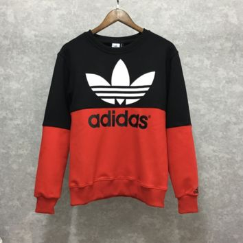 Adidas print black gray long sleeve warm Sweater top