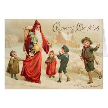 Vintage Art Victorian Christmas Santa Customize it Card