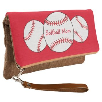 Red and White Softball Mom Sports Clutch