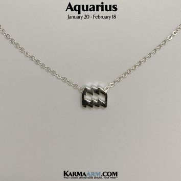 AQUARIUS | Zodiac | Astrology Collection: 18K White Gold | Birth Sign Necklace
