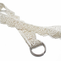 Ivory Scalloped Lace Lanyard