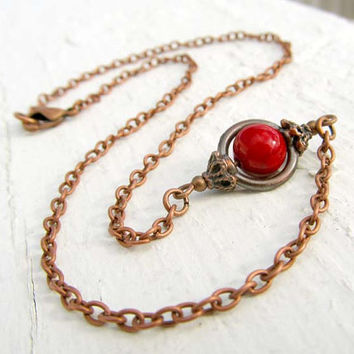Rustic Simple Red Copper Necklace
