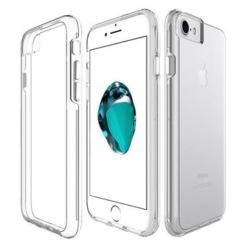 Clear Back Case for iPhone 6 6S Slim Cover Hard PC Back+TPU Bumper Shockproof Phone Cases Shell for iPhone 6S 7 8 Plus X Coque