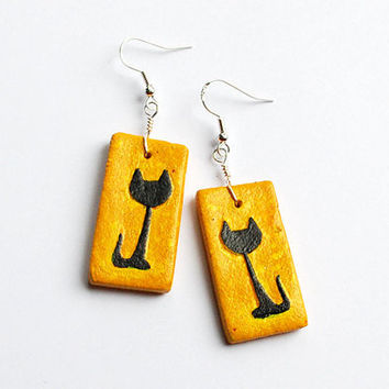 Sunny yellow earrings with black cat figure. Cute cat lover gift idea. Handmade jewelry.