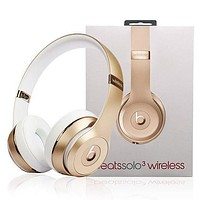 Popular In The World Beats Solo 3 Wireless Magic Sound Bluetooth Wireless Hands Headset MP3 Music Headphone with Microphone Line-in Socket TF Card Slot Gold I
