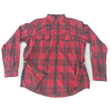 RED/BROWN Long Sleeve Flannel w/ Side Zippers
