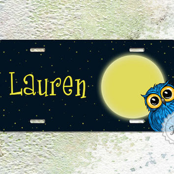 License Plates Personalized Name with cute owl aluminum car tag bumper