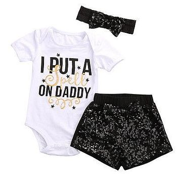 Summer New Baby Girls Clothing Set I PUT Romper+ Sequin Pants+Headband Outfit Set Clothes 0-24M