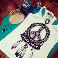 Peace and Love woman black & white tank top - Dreamcatcher spiritual yoga top