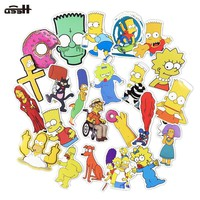 50 Pcs Simpson Cartoon Pvc Waterproof  Sticker Toy Decal For Phone Laptop Luggage Bicycle Guitar Moto Adhesive Gift Stickers