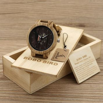 BOBO BIRD Men's Wood Watches Natural Brown Cowhide Leather Strap Quartz Watch Packaged in Wooden Gift Box Relogio Masculino