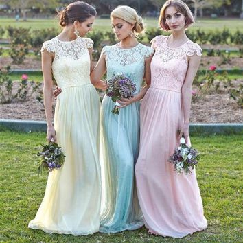 New 2017 A-line Cap Sleeves Floor Length Yellow Blue Pink Lace Long Bridesmaid Dresses Cheap Under 50 Wedding Party Dresses