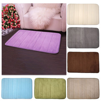 Non Slip Bathroom Toliet Rug 100% Coral Velvet Fabric Memory Foam Bath Mats 40*60cm Bathroom Accessories