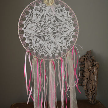 A vintage lace doily dream catcher in Pink, Green, Cream and white shades --- A vintage elegant touch or an special present