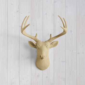 The MINI Virginia Khaki Brown Faux Taxidermy Resin Deer Head Wall Mount | Khaki Brown Stag w/ Colored Antlers