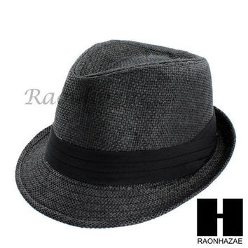 CREYONRC MEN WOMEN SUMMER BEACH PANAMA STRAW FEDORA TRILBY CUBAN BLACK HAT F002