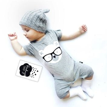 2019 fashion Infant clothing baby romper gray short sleeve cartoon bear one piece suit Jumpsuit newborn baby boy girl clothes