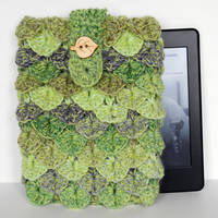 Green Crochet eReader, iPad mini, Nook or Kindle Cover /Case  with crocodile stitch
