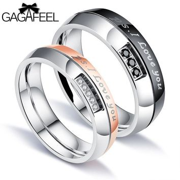 GAGAFEEL Zircon Couple Rings 316L Titanium Steel For Men Couple Ring Romantic Gift Arc Type Smooth Customized Service