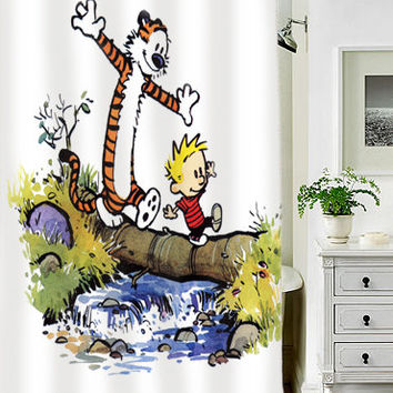 calvin and hobbes special custom shower curtains that will make your bathroom adorable