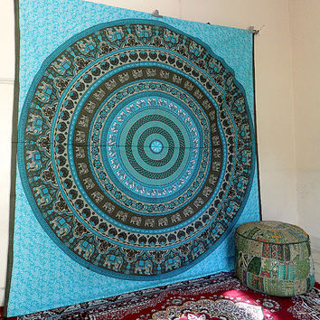 BIG Indian Cotton Mandala Tapestry Wall Hanging, Mandala Hippie Tapestries, Bohemian Boho Bedding Throw Bedspread, Ethnic Home Decor Art