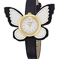 Kate Spade New York - Novelty Metro Butterfly Wing Enamel, Goldtone Stainless Steel & Saffiano Leather Strap Watch - Saks Fifth Avenue Mobile