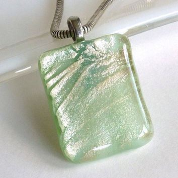 Pale Green and Silver Fused Glass Pendant